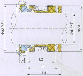 Изображение размеров из таблицы 1 на схеме торцевого уплотнения 2100